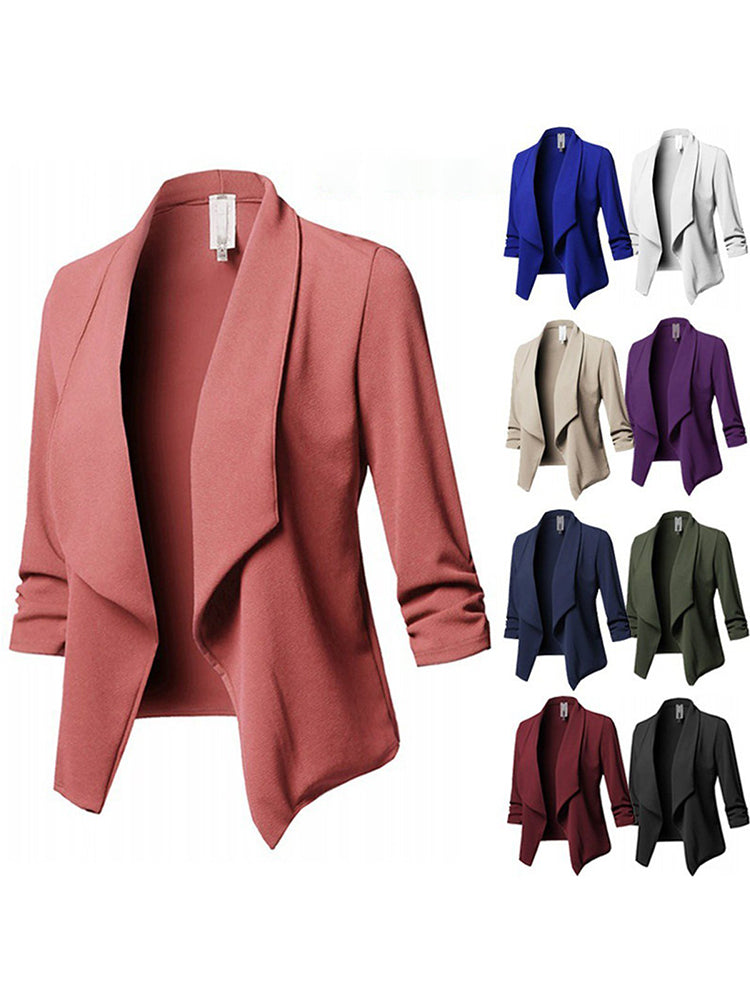 Shawl Collar Cotton Solid Elegant Blazer