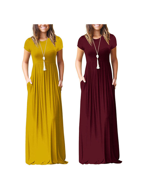 Women's Short Sleeve Loose Plain  Pockets Maxi Dresses