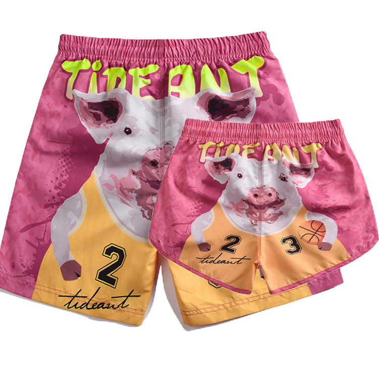 Basketball Pig 3D Printed Couples Beach Shorts