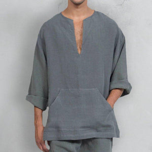 Men's Loose Fit Deep V Neck Comfort Bell Sleeve T-Shirts