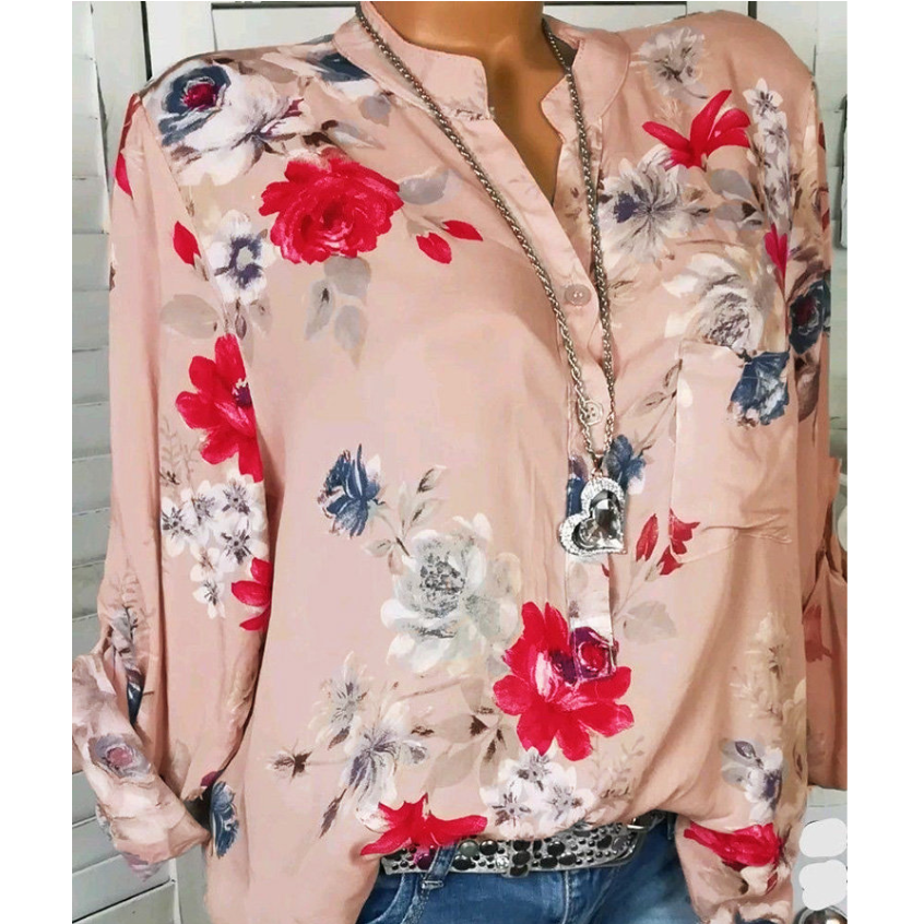 Floral Printed Stand Collar Long Sleeve Chiffon Blouses