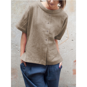 Patchwork Fake Button Crew Neck Short Sleeve Shirt