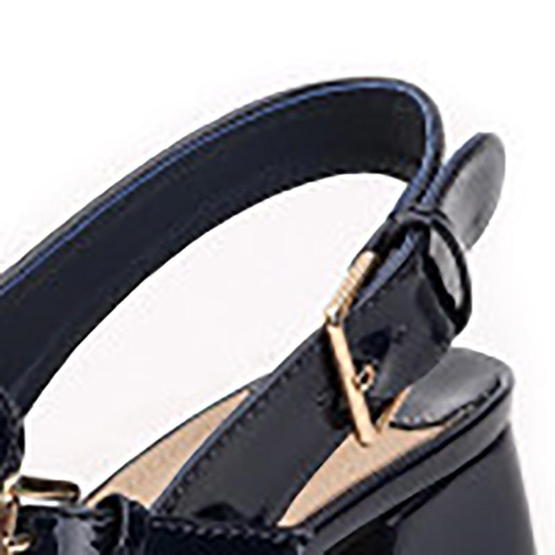 Chic Buckle Patent Leather Pointed Toe Chunky Heels