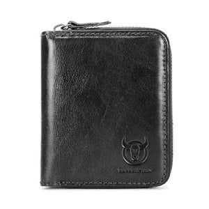 Bullcaptain Men RFID Blocking Secure Antimagnetic Genuine Leather Wallet