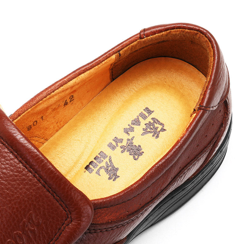 Men Cow Leather Slip On Wear-resistant Casual Shoes