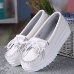 White Genuine Leather Tassel Heightening Platform Shoes