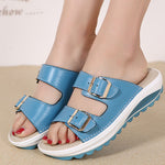 Candy Color Leather Buckle Metal Color Match Platform Beach Sandals Slippers