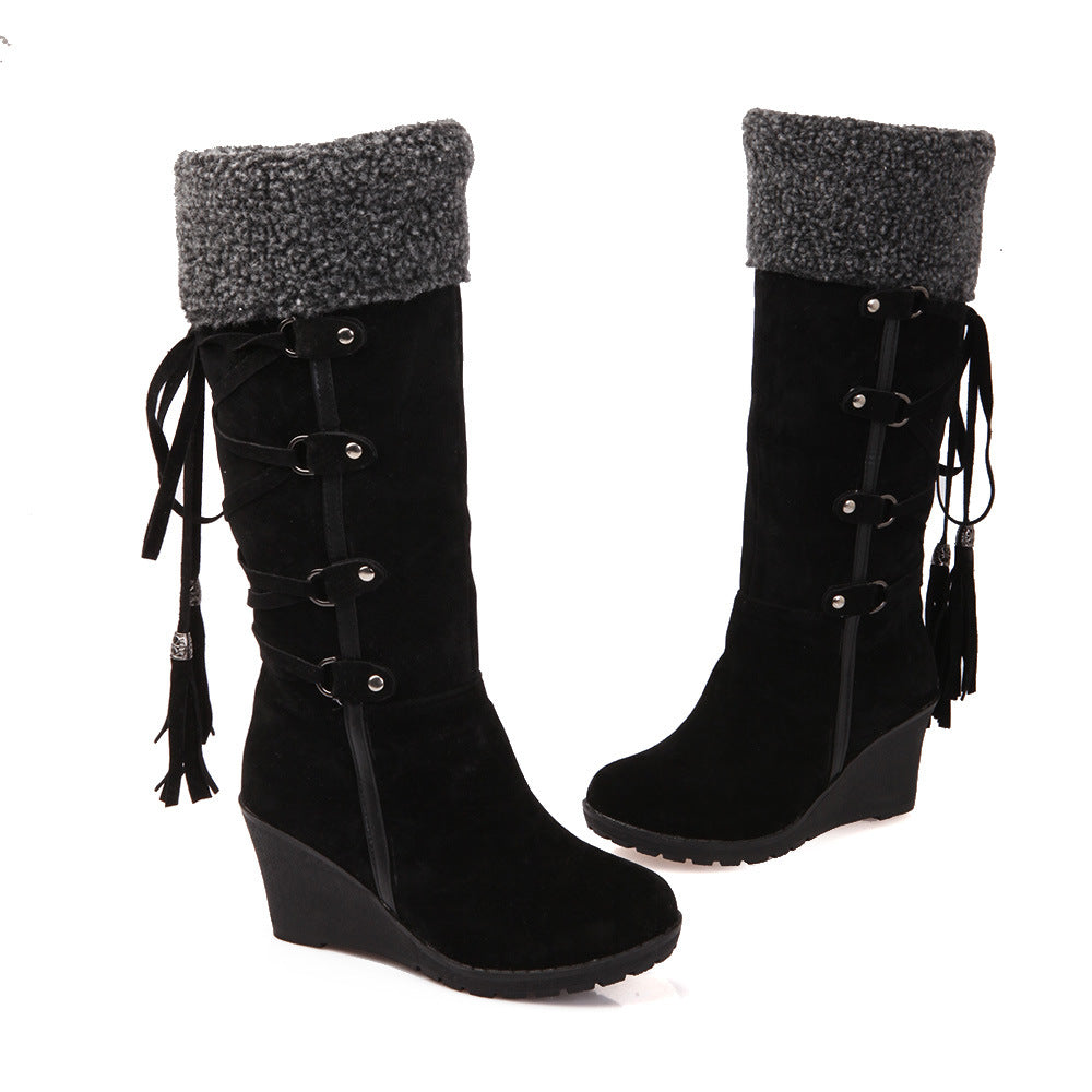 Big Size Tassel Lace Up Knee High Wedge Boots