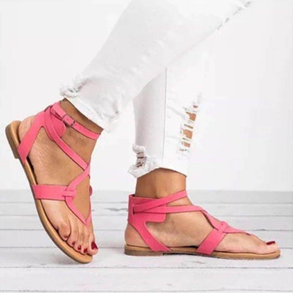 Large Size Adjustable Buckle Flat PU Sandals Women Shoes