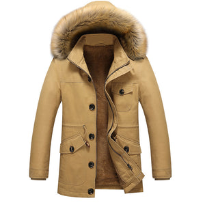 Men's Thicken Mid Long Cotton Jacket Trench Coat