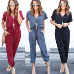Casual Solid V Neck Short Sleeve Jumpsuit