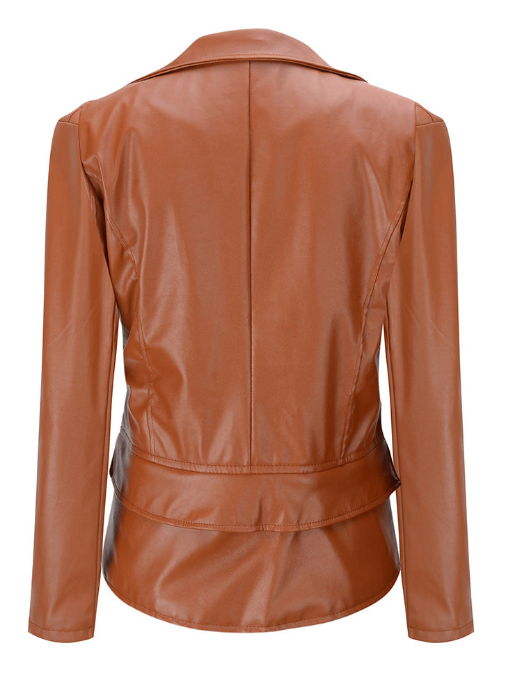 Motorcycle Leather Cloak Jacket Two Way Zipper Jacket