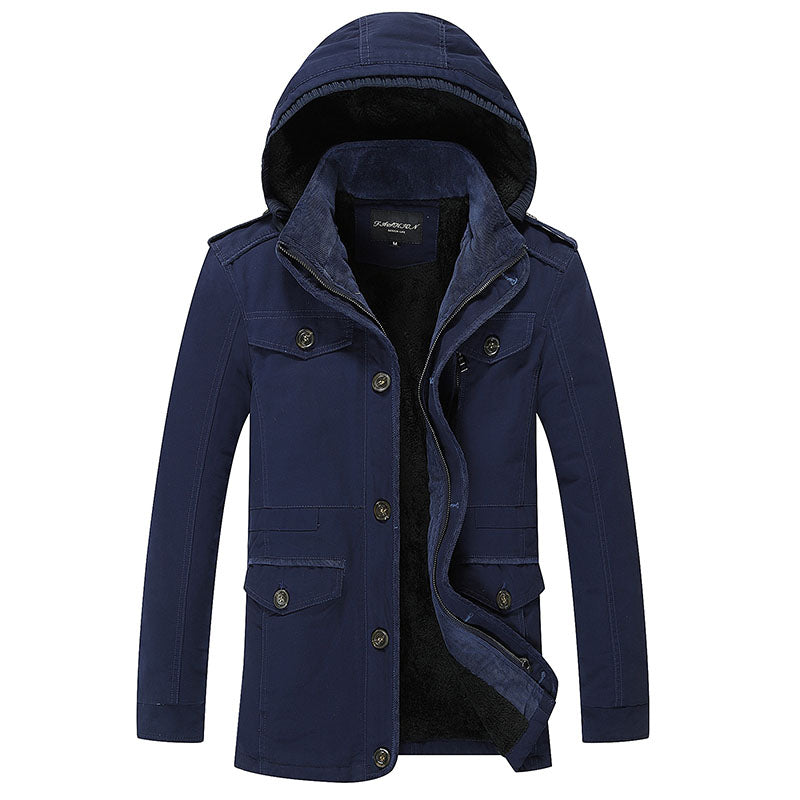 Men's Thicken Mid Long Cotton Jacket Hoodie Trench Coat