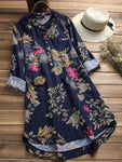 Women Floral Printed Stand Collar Mid-Long Vintage Blouses