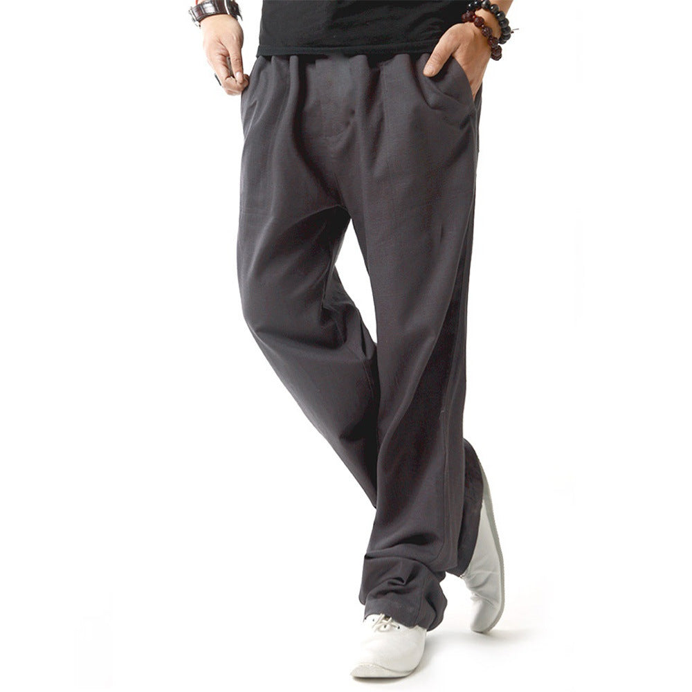 Mens Cotton Linen Thin Loose Straight Pants