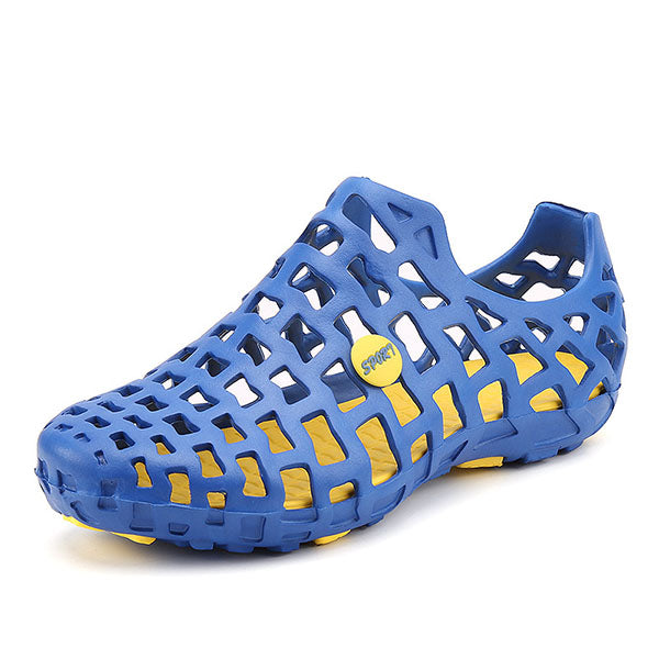 8cab204489fd Breathable Hollow Out Pure Color Flat Casual Beach Water Sandals ...