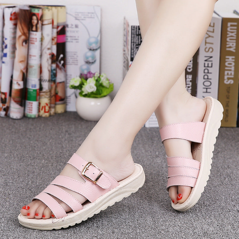 Color Leather Buckle Metal Color Match Platform Beach Sandals Slippers
