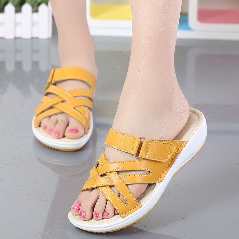 Leather Buckle Metal Color Match Platform Beach Sandals Slippers