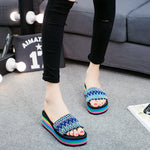 Colorful Rainbow EVA Peep Toe Platform Slip On Beach Slippers