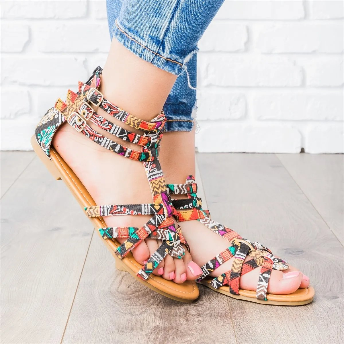 Strappy Gladiator Criss-cross Front Back Zippers Sandals