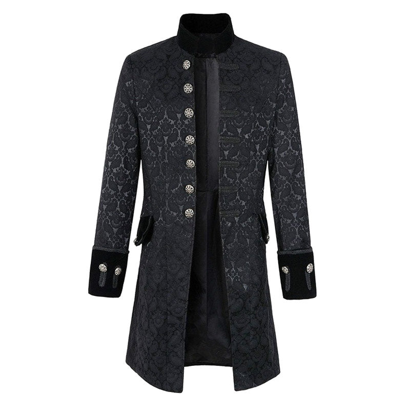 Men's Jacquard Mid Long Single-breasted Stand Collar Fall Winter Trench Coat