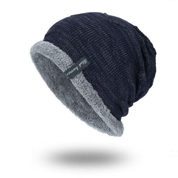 Men's Solid Color Stripe Knit Plus Velvet Fashion Beanie Hats