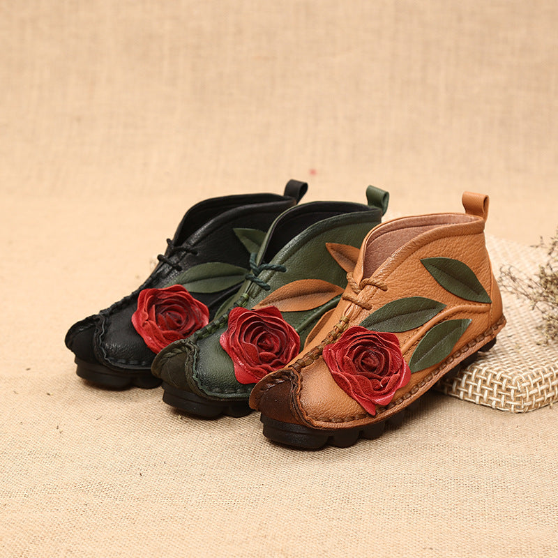 Flower Retro Leather Handmade Shoes