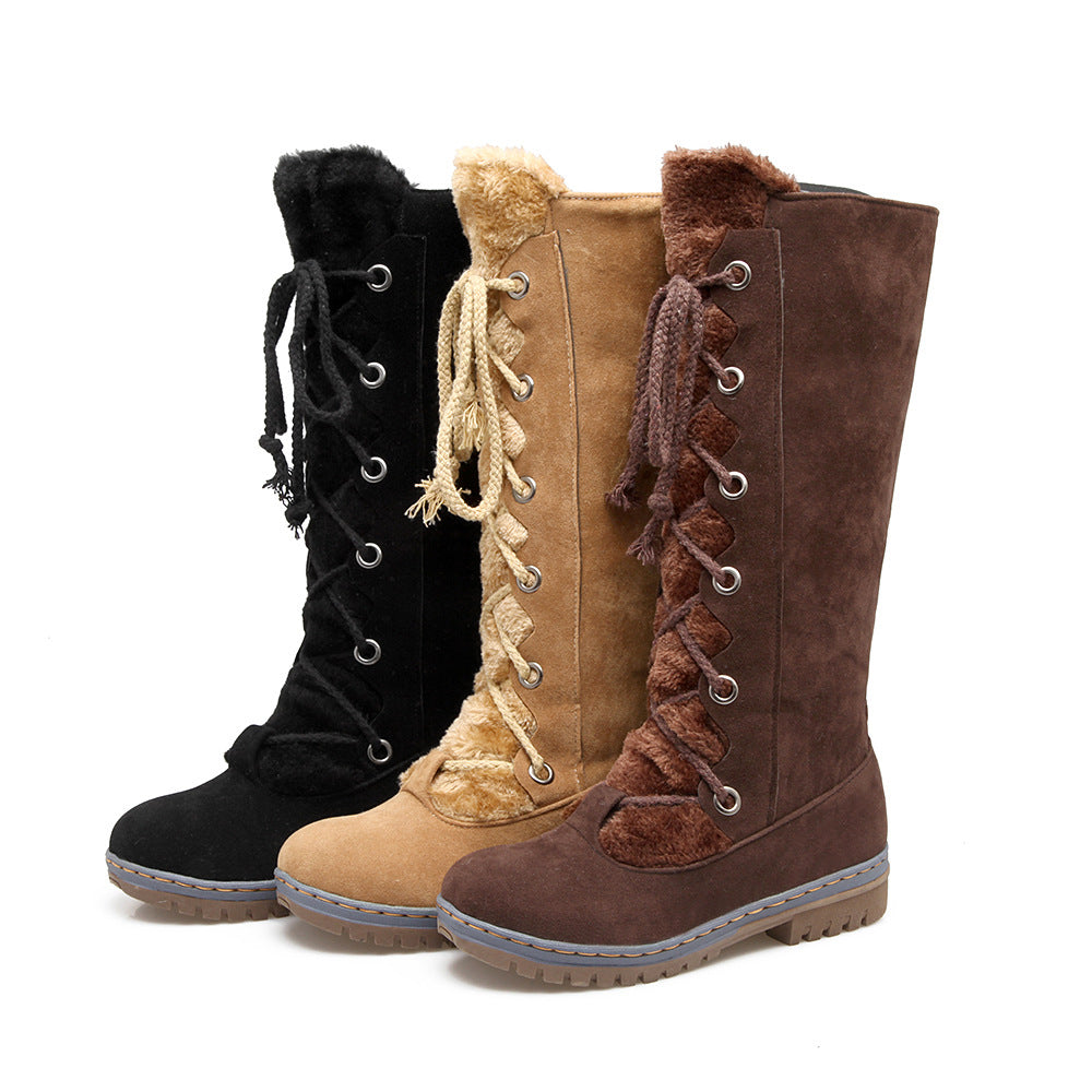 Large Size Stitching Mid Calf Comfortable Lace Up Zipper Winter Knight Boots