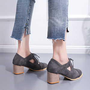 Strap Buckle Lace-Up Low Heels Sandals