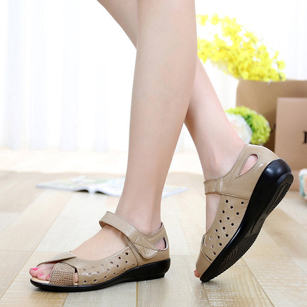 Large Size Peep Toe Hollow Rhinestones Hook Loop Flat Shoes