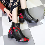 Bow Genuine Leather Vintage Warm Fur Lining Short Boots