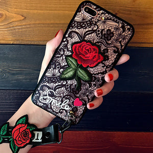 Embossed Embroidery Rose Iphone Case