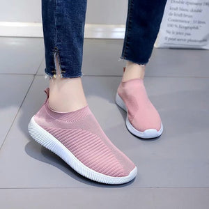 Big Size Women Running Sneakers Athletic Breathable Mesh Solid Color Socks Shoes