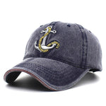 Mens Washed Denim Anchor Embroidered Pattern Sunshade Baseball Cap