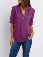 Chiffon Half Sleeve Zipper Solid V neck High Low Plus Size Blouse