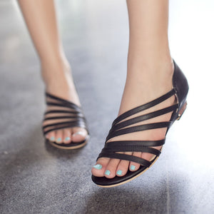 Large Size Peep Toe Slip On Hollow Wedge Sandals
