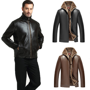 Men's Winter Casual Business Thicken Fleece Lining Zip Up PU Leather Jacket