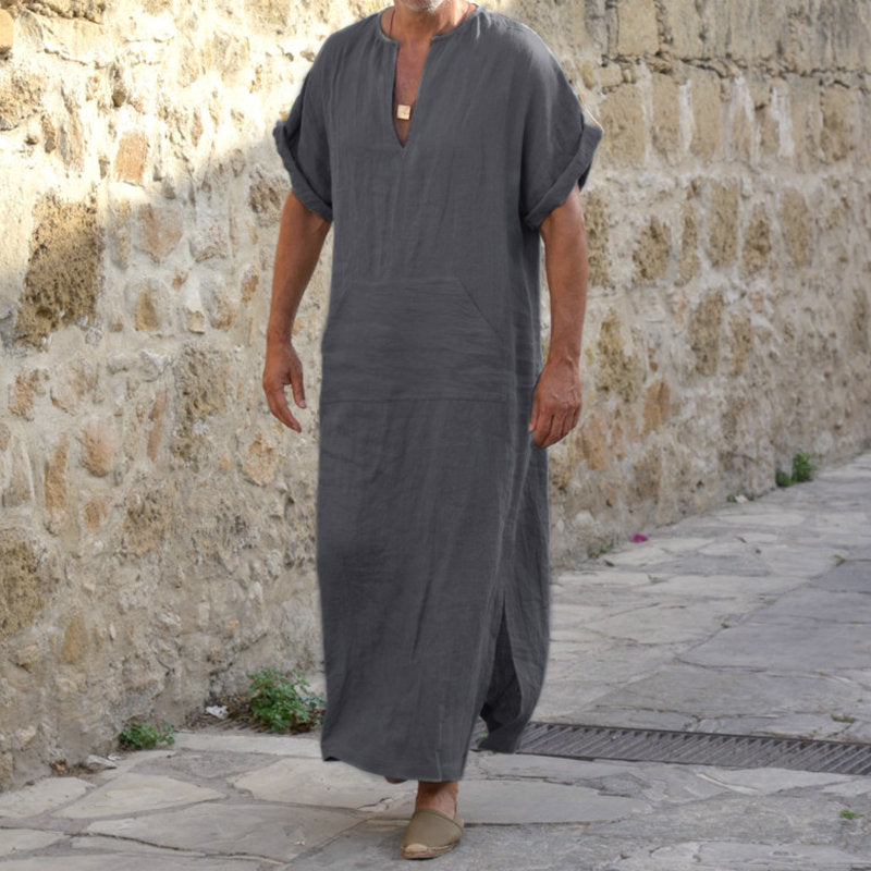 Mens Plus Size 100%Cotton Vintage Splits Kaftan 5XL Loose Tops