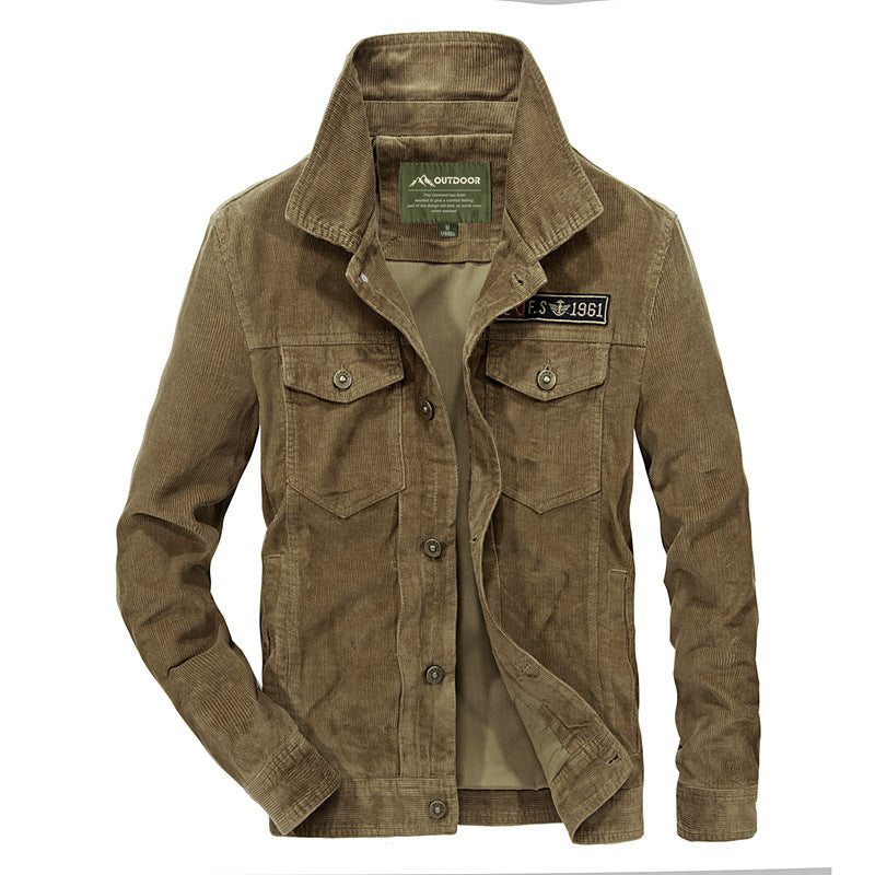Corduroy Stand-Up Collar Atmosphere Casual Plus Fleece Warm Jacket