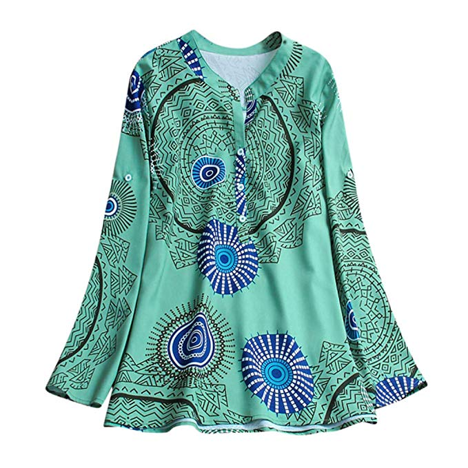 Women's Loose Plus Size Print Long Sleeve Top Blouse