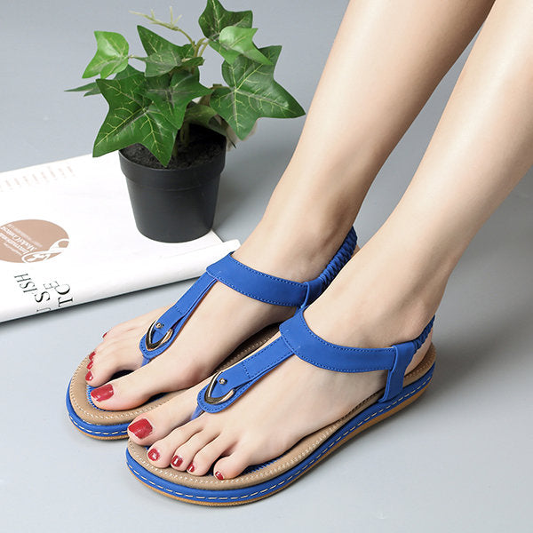 Comfortable Elastic Clip Toe Flat Beach Sandals