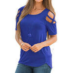 Solid Criss-Cross Cold Shoulder Blouse without Necklace