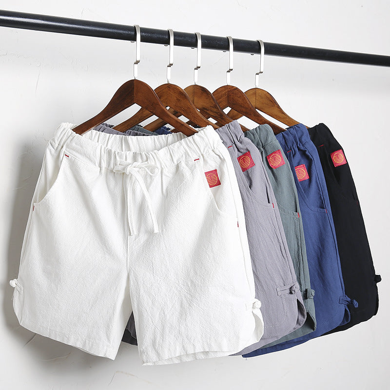 Summer Cotton Linen Drawstring Shorts
