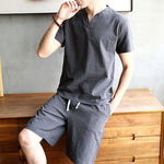 Men's Chinese Style Sets Short-sleeved T-shirt + Shorts Casual Two-piece
