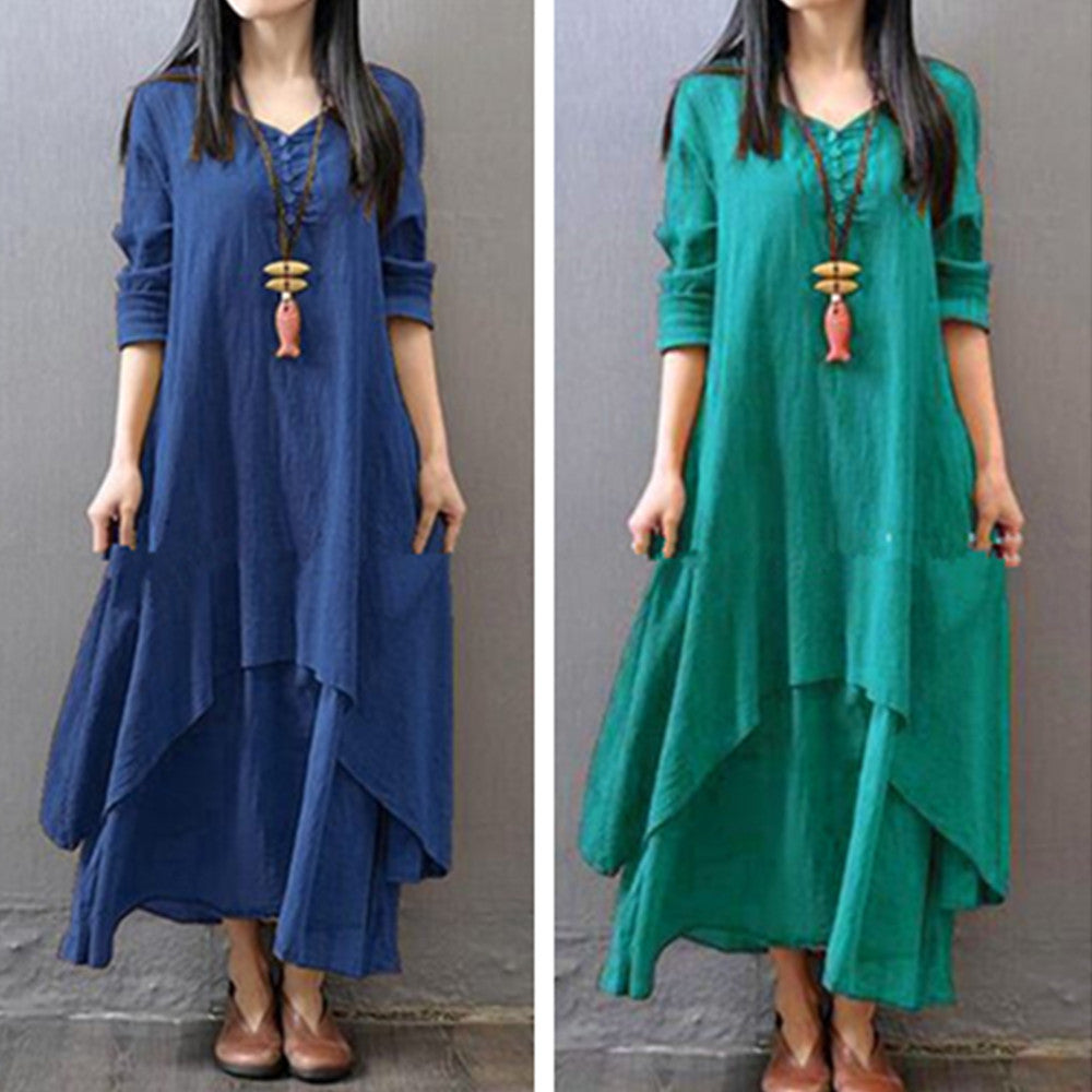 Vintage Long Sleeve V-Neck Irregular Maxi Dresses