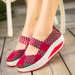 Knitted Hollow Out Slip On Casual Shoes