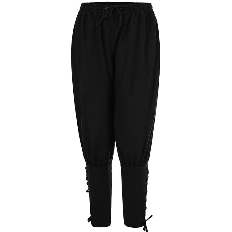 Men's Loose Solid Color Elastic Drawstring Casual Pants