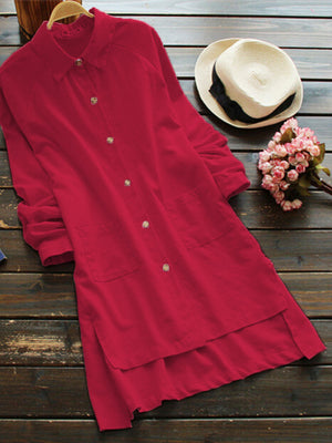 Casual Pure Color Irregular Long Sleeve Lapel Shirts For Women