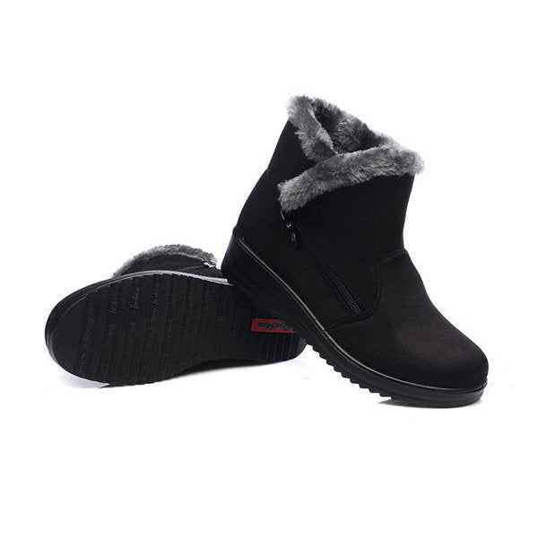 Winter Zipper Wedge Heel Keep Warm Ankle Snow Boots For Women