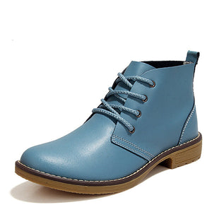 Large Size Leather Lace Up Ankle Knight Boots